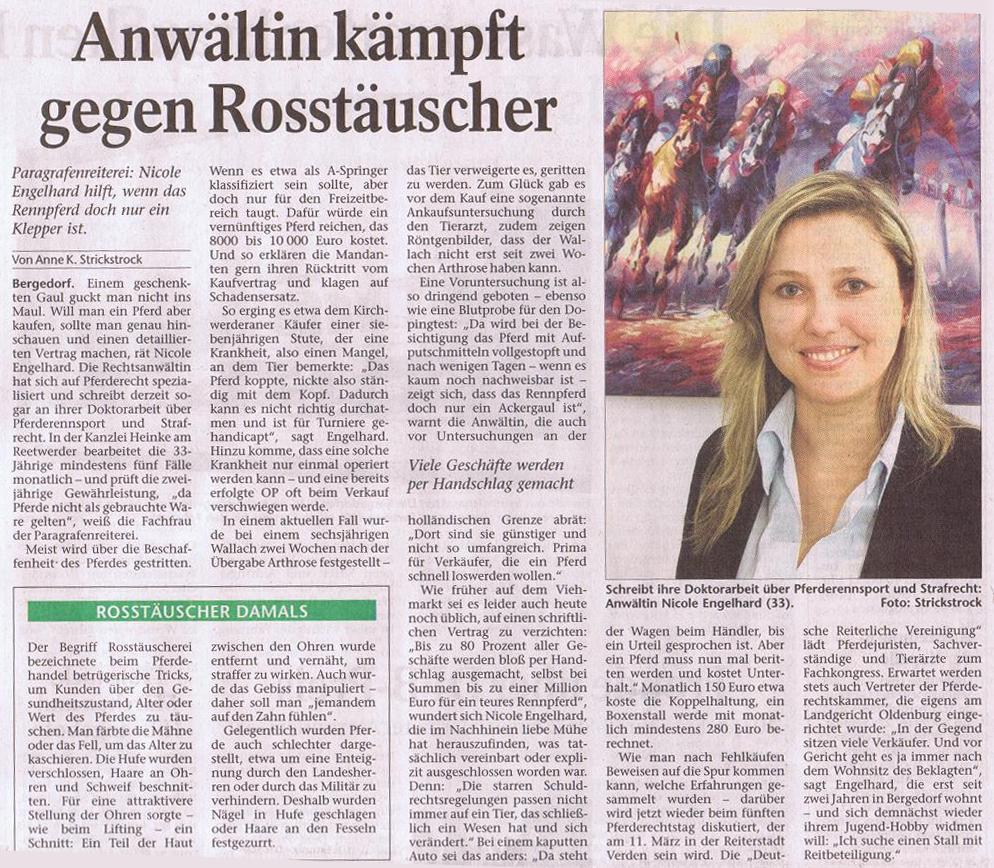 PFERDERECHT-Artikel über unsere Kollegin Nicole A. Heinke (geb. Engelhard)